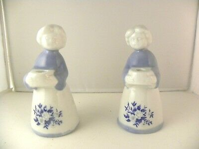 Pair of Spanish porcelain candlesticks girls figures handpainted floral