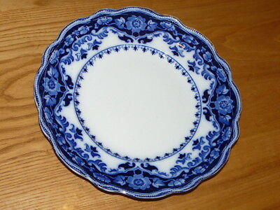 Vintage FLOW BLUE CRUMLIN 9'' 13/16 Plate - Semi Porcelain - Made in England