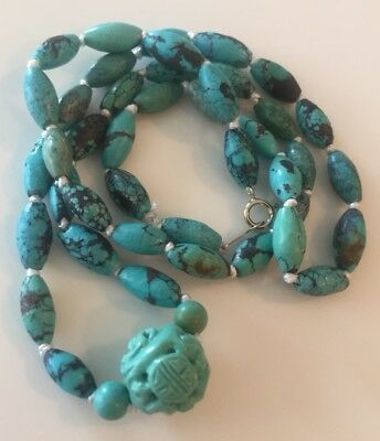 vintage Turquoise Carved Shou Bead Necklace Chinese Jewelry Lot