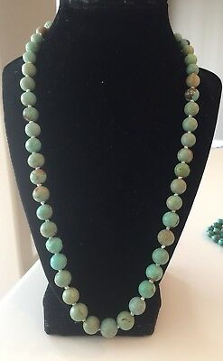 vintage Turquoise Carved Round Bead 22 Inch Necklace Chinese Jewelry Lot