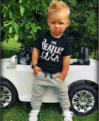 2PCs Toddler Baby Boys Casual T-Shirt Tops + Pants Set Kids Clothes Outfits
