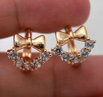 18K Gold Filled - Hollow Bow Bowknot Laser Carved Topaz Gems Lady Hoop Earrings