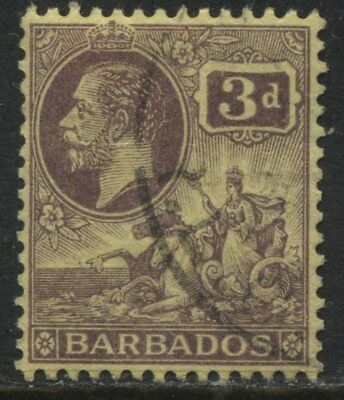 Barbados 1912 KGV 3d violet on yellow used