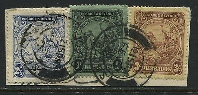 Barbados 1925 KGV 2 1/2d, 3d, & 1/ perf 1/2 by 12 1/2 used