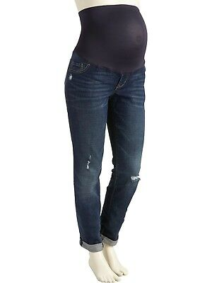 Old Navy Maternity Full Panel The Boyfriend Destructed Skinny Jeans Size 16 New