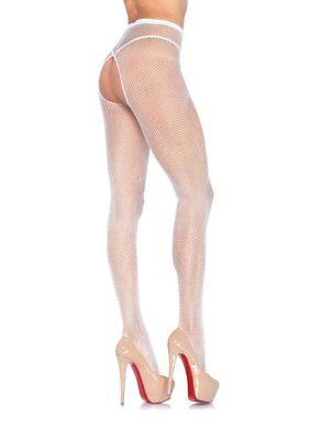 Leg Avenue 1404 White Fishnet Crotchless Pantyhose stockings Hosiery Burlesque