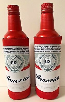 Budweiser AMERICA Logo Beer Koozie ~ Fits 16 oz Aluminum Can ~ Two (2) New & F/S