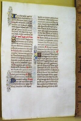 Decorative Medieval Illuminated Manuscript Lf,Vellum, Gold Init.c.1474
