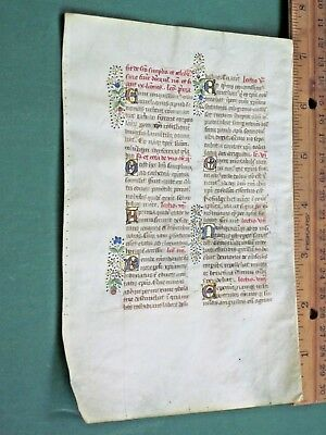 Beautiful Medieval Illuminated Manuscript Lf,Vellum,Deco.color Gold Init.1474