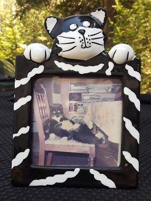 """Black and White Cat Hand Painted Picture Frame Holds 3-1/2"""" x 3-1/2"""" Photo Pet"""