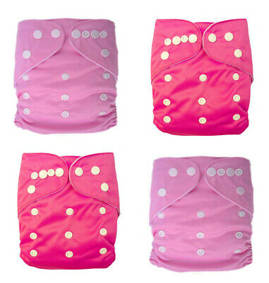 Plain Girl colour reusable modern cloth nappy, baby to toddler Trial 4 Pack Pink