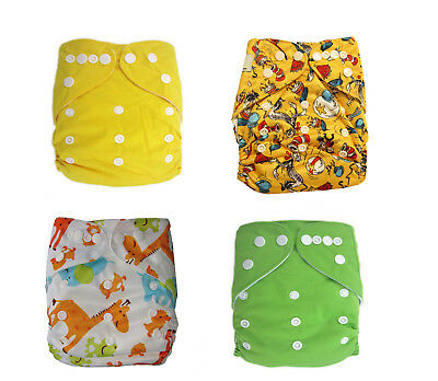 Plain Boy colour reusable modern cloth nappy, baby to toddler Trial 4 Pack green