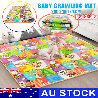 AU 2mx1.8m Nontoxic Baby Kids Play Mat Floor Rug Picnic Alphabet Crawling Carpet