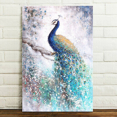 Peacock HD Canvas Print Wall Art Painting Picture Poster Decor Unframed 75x50cm