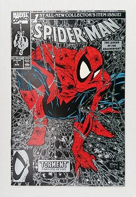 Spider-Man #1 (Aug 1990, Marvel) NM, unbagged black cover with silver webbing