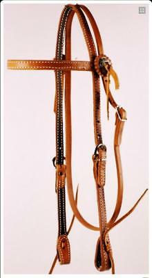 Double Stitched Browband Bridle with Conchos
