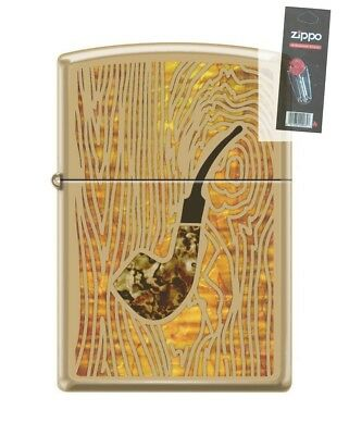 Zippo 0079 Pipe High Polish Brass Pipe Fusion Full Size Lighter + FLINT PACK