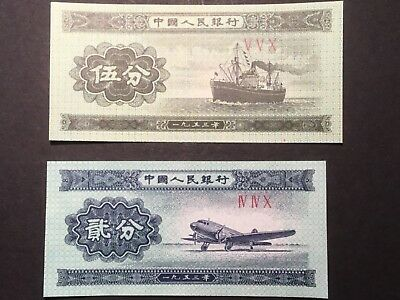 2 x 1953  Chinese bank notes. Two & Five fen.