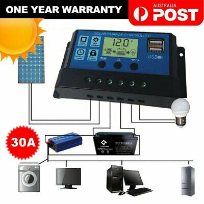 30A 12V-24V LCD Display Auto Solar Panel Battery Regulator Charge Controller USB