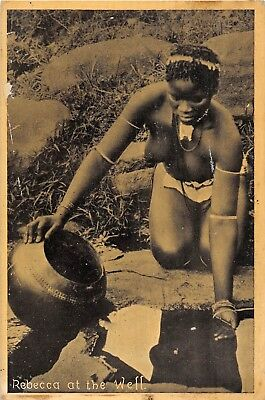 POSTCARD   ETHNIC    AFRICA  NUDE   WOMEN    REBECCA  At  The  Well