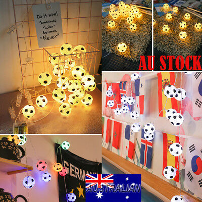 10/20Balls Football Soccer LED Fairy String Light World Cup Home Bar Party Decor