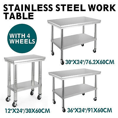 3 Size Steel Prep Work Table With 4 Casters Shelving Food Prep Tables Stability