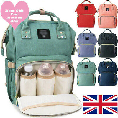 Waterproof Large Mummy Nappy Diaper Bag Baby Travel Changing Nursing Backpack UK