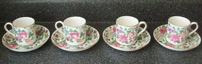 4 Crown Staffordshire Demi Cups/Saucers THOUSAND FLOWERS GOLD TRIM (F7117) rare