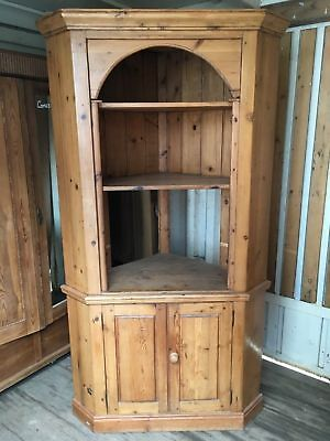 Reclaimed Large Antique Victorian Pine Corner Cupboard 208cm High