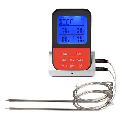Wireless Remote Digital Food Thermometer with Dual Probe BBQ Meat Turkey OS989
