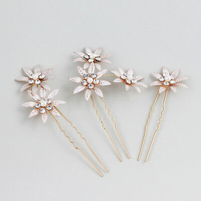 3pcs Bridal Hair Pins Pearl Flower Crystal Wedding Hair Clips Hair Accessory