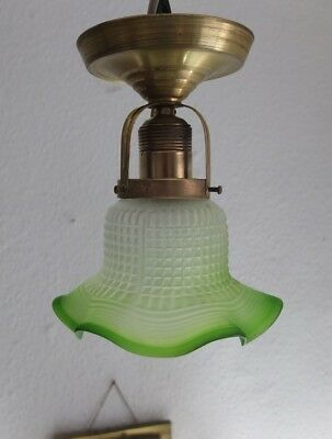 antik Jugendstil Art Deco Deckenlampe Messing Glas Lampe art nouveau lamp