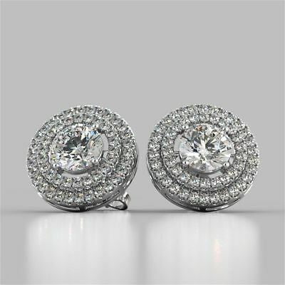2.30 Cts Round Brilliant Cut Diamonds Halo Stud Earrings In Fine 14K White Gold