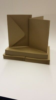 50 x 100% Recycled Brown Kraft 280gsm A6 Card Blanks & C6 Envelopes Free P&P