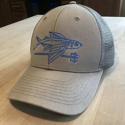 PATAGONIA GEODESIC FLYING Fish Trucker Hat Excellent - Feather Grey ... 20c92cdbdc2