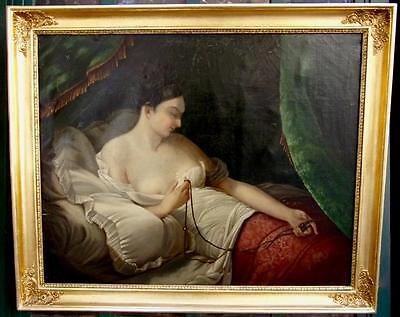 Amazing Antique   Oil Painting Young Romantic Scene Lady early 19th century Art