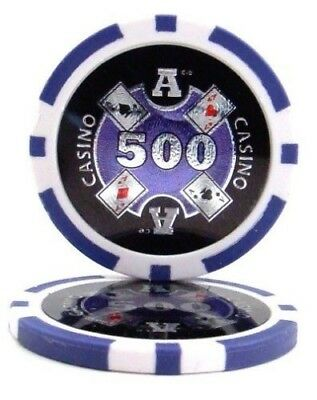 25 Purple $500 Ace Casino 14g Clay Poker Chips New - Buy 2, Get 1 Free