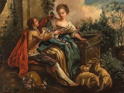 Gallant Couple with Sheep Amazing Oil Painting, Late 18th/Early 19th Century