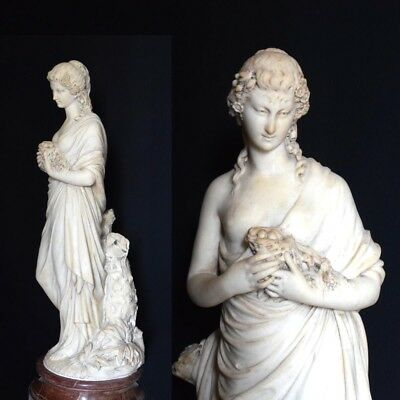 Amazing Antique Italian  Carrara Marble Statue of Young Lady 19th Century