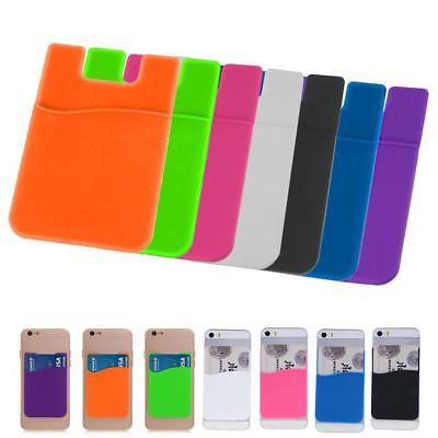 Smart Silicone Wallet Credit Card Cash Stick Adhesive Holder Case For Phone  MT