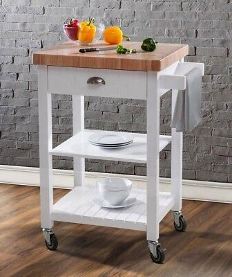 Bedford White Kitchen Cart 2 Wood Butcher Block Top Rolling Prep Table Island