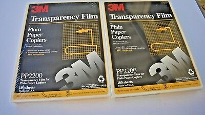 2 BRAND NEW PACKAGES OF 100 3M TRANSPARENCY FILM FOR COPIERS PP2200 NOS Sealed