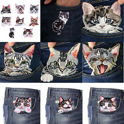 8pcs Lovely Animal Cat Embroidered Patch Sew Iron on Applique Garment Decor