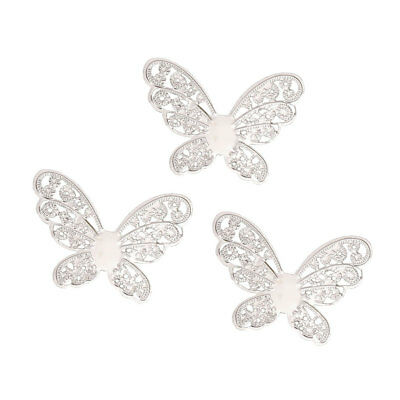 50 Pcs Metal Filigree Butterfly Slice Charms DIY Jewelry Components Findings