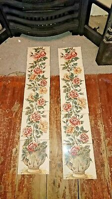10 Traditional. Victorian Style  Fireplace Floral Tile Set (2 X 5 Tiles) Stovax