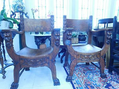 """MATCHED PAIR"" Late 1800's Heavy Carved Oak Lion Figural Chairs Claw Feet"