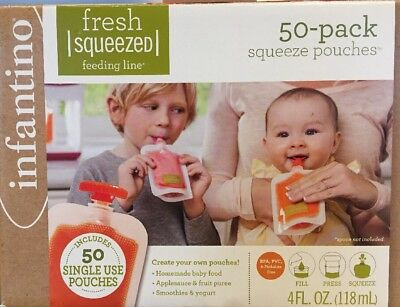 Infantino Squeeze Pouches Baby Food  50 Count 4oz
