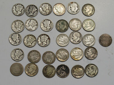 Mixed Lot of 29 US Dimes, 90% Silver, Mixed Dates 1877-1964