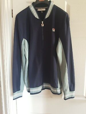 44640d617599 Fila Vintage Mk1 Settanta Track Top in Navy   Steel Blue - Borg Matchday