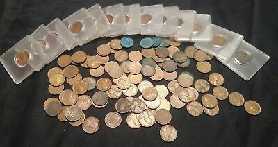 lot of Lincoln wheat pennies bright red steel 1920s-50s gem BU luster #237